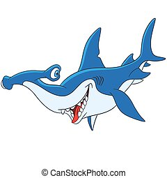 cute, hammerhead, caricatura, tubarão