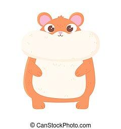 cute hamster cartoon animal icon white background