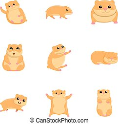 Cute hamster icon set, cartoon style - Cute hamster icon...