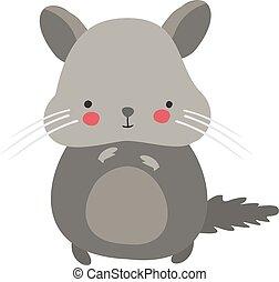 Cute hamster, illustration, vector on white background.