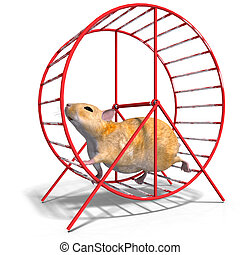 cute hamster in a hamster wheel - 3D rendering of a sweet...