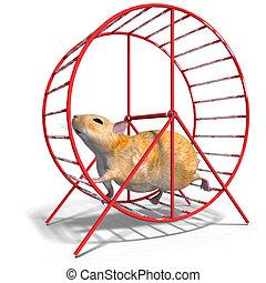 cute hamster in a hamster wheel - 3D rendering of a sweet...