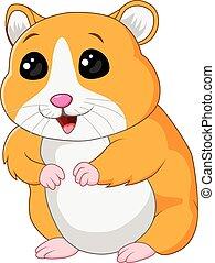 cute, hamster, posar, isolado