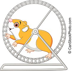Cute hamster running in rolling - Vector illustration of...