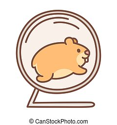 Cute cartoon hamster running in hamster wheel. Vector pet illustration.