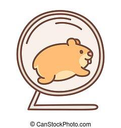 Cute hamster running in wheel - Cute cartoon hamster running...