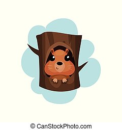 Cute hamster sitting in hollow of tree, hollowed out old tree and funny animal inside vector Illustration on a white background