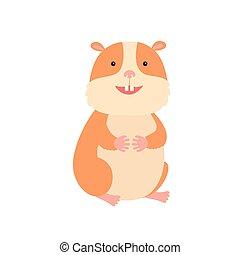 Cute hamster, vector illustration on white background
