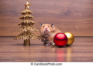 Cute hamster with santa hat on the table