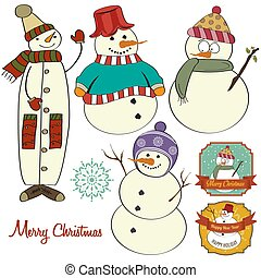 Cute hand draw snowmen collection isolated on white background.