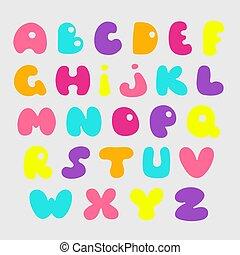 Cute hand drawn alphabet. Vector funny comics font