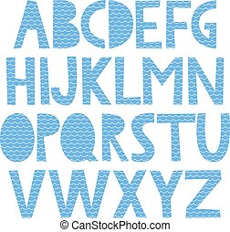 Cute hand drawn alphabet with sea pattern