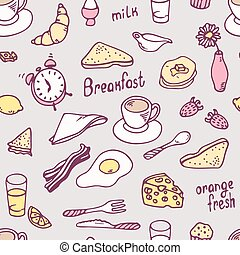 Cute hand drawn breakfast seamless pattern