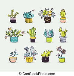 Cute hand drawn cactus set - Cute hand drawn cactus and...