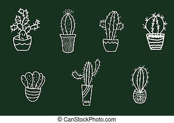 Cute hand drawn cactus set in the pots.