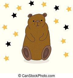 Cute hand drawn cartoon bear.
