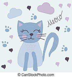 Cute Hand Drawn Cartoon Blue Cat.