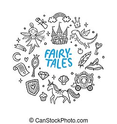 Cute hand-drawn cartoon castle, dragon, unicorn, fairy, and other fairy tale elements. Doodle Vector Illustration. Good for a sticker, indie game, greeting card, badges or coloring page