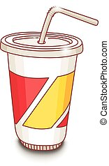 Cute hand-drawn cartoon style cup with drink. Shadow on white background.