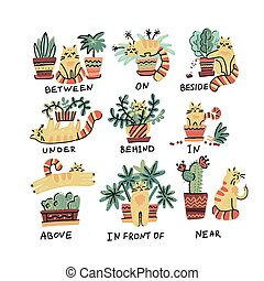 Cute hand drawn cat character in different poses with plant pot. Prepositions of place English. Studying of foreign language concept. Vector flat doodle cartoon character isolated illustration
