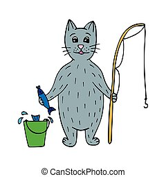 Cute hand-drawn cat fisherman with fish and a rod.
