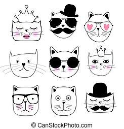 Cute Hand drawn Cat Set Vector Illustration
