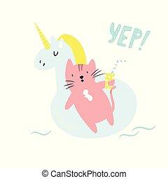 Cute hand drawn cat swimming in a pool.