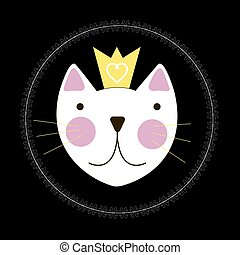 Cute Hand Drawn Cat with Crown Background