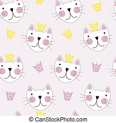 Cute Hand Drawn Cat with Crown Seamless Pattern Background