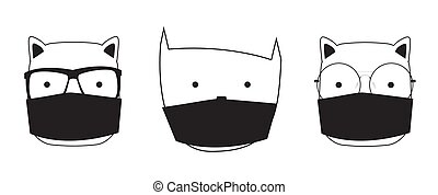 Cute Hand drawn Cat with medical mask. Vector Illustration EPS10