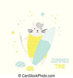 Cute hand drawn cat with surfboard. Character design