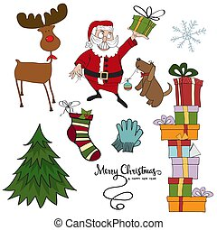 Cute hand drawn, Christmas items collection isolated on white