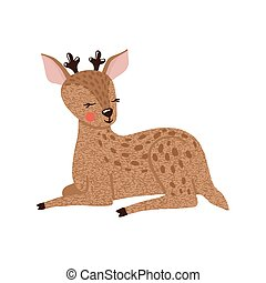 Cute hand drawn deer isolated on white.