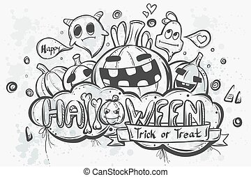 cute, hand-drawn, dia das bruxas, doodles