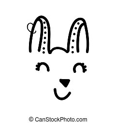 Cute hand drawn doodle simple bunny face icon with earring. Isolated on white background. Vector stock illustration.