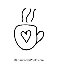 Cute hand drawn doodle simple cup icon with heart. Isolated on white background. Vector stock illustration.