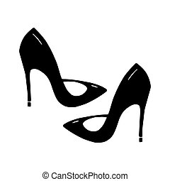 Cute hand drawn doodle stilettos. Isolated on white background. Vector stock illustration.