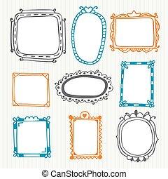 Cute hand drawn frames. Vintage photo frames