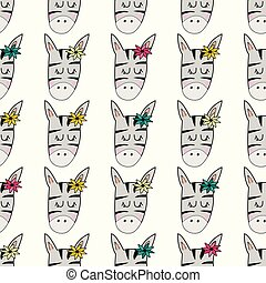 Cute hand drawn funny zebra