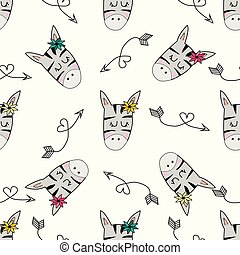 Cute hand drawn funny zebra with arrows