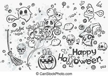 Halloween doodles - vector illustration