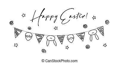 Cute hand drawn hanging easter eggs, bunny ears and flags horizontal garland. Vector illustration. Background for greeting card, promotion, poster, banners and wrapping