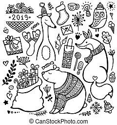 cute, hand-drawn, jogo, natal, elementos