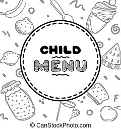 Cute hand drawn menu for cafe on food background. Linear illustration.