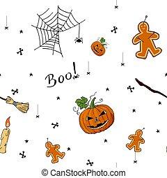 Cute hand drawn pattern of Halloween elements.
