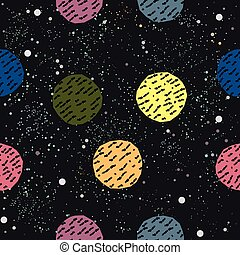 Cute Hand Drawn Pattern with colorful Balls on dark background.