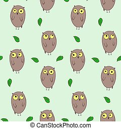 Cute hand drawn pattern with owls and leaves
