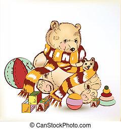 Cute hand drawn plush bear with chi