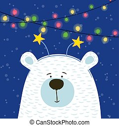 Cute hand drawn polar bear with hoop head Peace on snowy background with garland