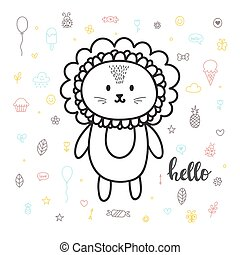 Cute hand drawn postcard with funny lion. Card for little girl or boy. Template for your design. Doodle style. Sketchy character
